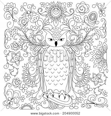 Coloring page with hand drawn owl among floral pattern for children and adult anti-stress coloring book album book cover. Black and white outline illustration. eps 10