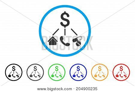 Life Expenses rounded icon. Style is a flat life expenses gray symbol inside light blue circle with black, gray, green, blue, red, orange versions. Vector designed for web and software interfaces.