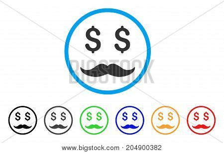 Millionaire Mustache rounded icon. Style is a flat millionaire mustache grey symbol inside light blue circle with black, gray, green, blue, red, orange versions.