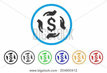 Money Care Hands rounded icon. Style is a flat money care hands grey symbol inside light blue circle with black, gray, green, blue, red, orange color versions.