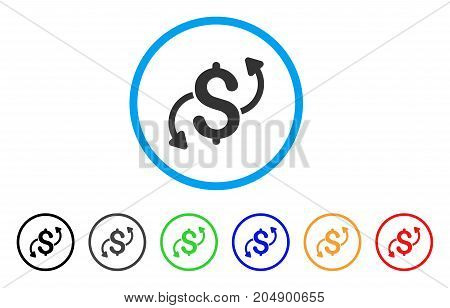 Money Transfer rounded icon. Style is a flat money transfer grey symbol inside light blue circle with black, gray, green, blue, red, orange variants. Vector designed for web and software interfaces.