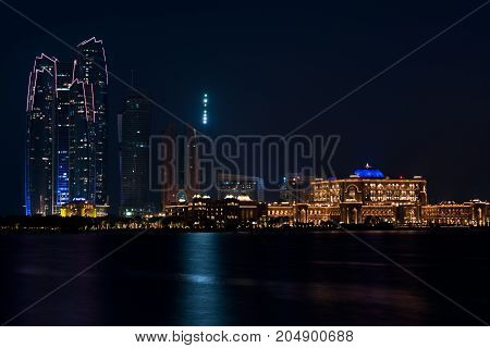 Abu Dhabi buildings skyline. travel in Arabian Emirates