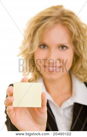 Business Woman Holding Post-its