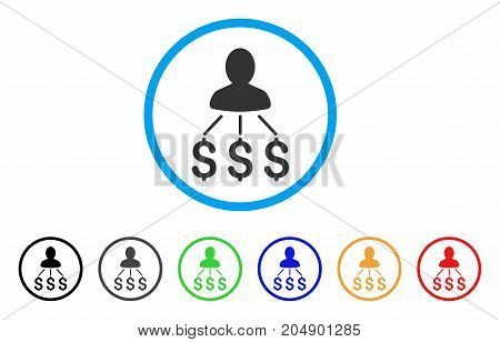 Person Expenses rounded icon. Style is a flat person expenses grey symbol inside light blue circle with black, gray, green, blue, red, orange color versions.