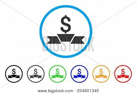 Premium Business Ribbon rounded icon. Style is a flat premium business ribbon gray symbol inside light blue circle with black, gray, green, blue, red, orange versions.