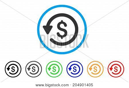 Rebate rounded icon. Style is a flat rebate gray symbol inside light blue circle with black, gray, green, blue, red, orange variants. Vector designed for web and software interfaces.