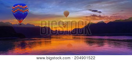 Hot Air Balloon Flying Over Rock Landscape