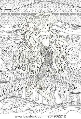 Patterned illustration of a mermaid in zentangle style with high detailed background. Sketch for tattoo, poster, print, t-shirt. Adult antistress coloring page. Colouring book for grown ups. VectoR