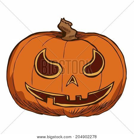 Jack Lantern isolated on white background. Cutted pumpkin for Halloween design. Vector