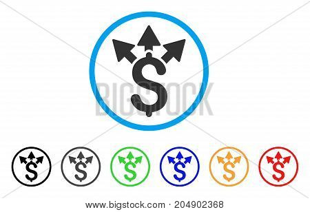 Split Payment rounded icon. Style is a flat split payment grey symbol inside light blue circle with black, gray, green, blue, red, orange variants. Vector designed for web and software interfaces.