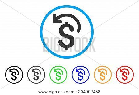 Undo Payment rounded icon. Style is a flat undo payment gray symbol inside light blue circle with black, gray, green, blue, red, orange variants. Vector designed for web and software interfaces.