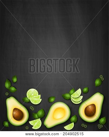 Vector top view background with realistic slices avocado lime green leaves and olives. Guacamole ingredients on black background. Food banner or mexican menu template
