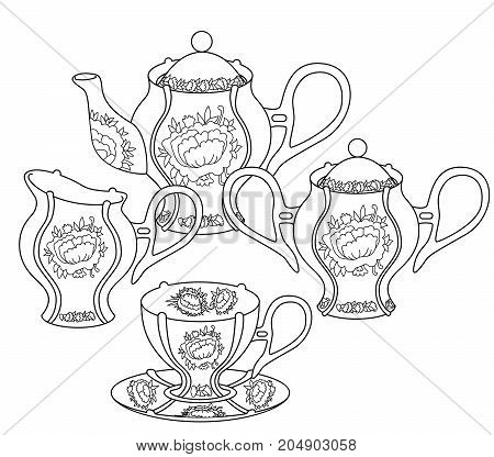 Tea set with high details. Adult antistress coloring page with english national dishes. Black white utensils isolated on white background. Sketch for tattoo, poster, print, t-shirt in zentangle style.