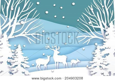 Paper cut deer family in snowy Christmas tree forest. Merry Christmas Greeting card. Origami snowy winter season. Happy New Year. Paper art style. Pine and tree. Blue background. Vector illustration