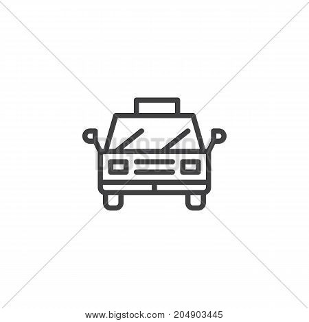 Taxi line icon, outline vector sign, linear style pictogram isolated on white. Symbol, logo illustration. Editable stroke