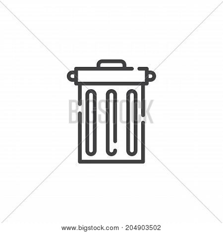 Trash bin line icon, outline vector sign, linear style pictogram isolated on white. Symbol, logo illustration. Editable stroke