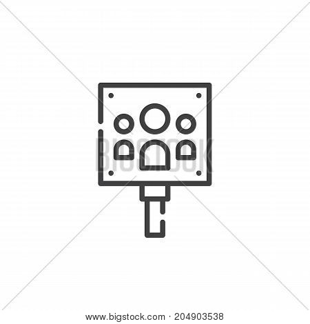 Meeting point line icon, outline vector sign, linear style pictogram isolated on white. Symbol, logo illustration. Editable stroke
