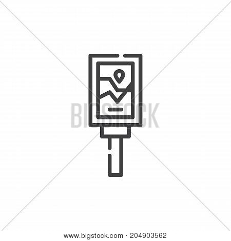 Road sign map line icon, outline vector sign, linear style pictogram isolated on white. Symbol, logo illustration. Editable stroke