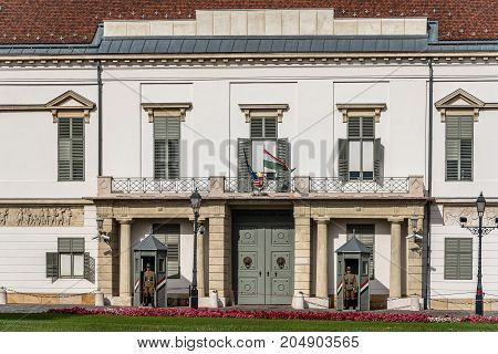 Budapest, Hungary - August 12, 2017:  Soldier guarding the presidential building in the Castle of Buda