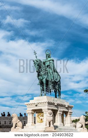 Budapest, Hungary - August 12, 2017:  St Stephen Statue in Fisherman Bastion of Buda. He was the first King of Hungary.