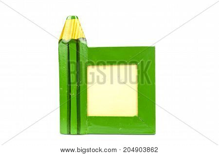 Green vintage wooden education picture frame with pencil symbol isolated on white