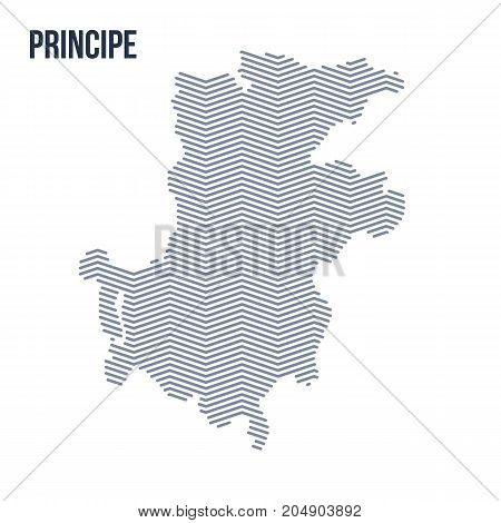 Vector Abstract Hatched Map Of Principe With Zig Zag Lines Isolated On A White Background. Travel Ve