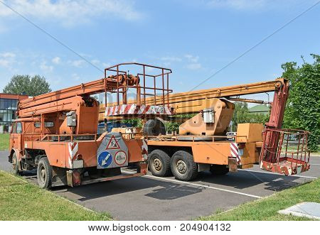 Crane vehicles back side in summer outdoor