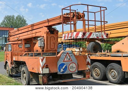 Crane vehicles back side in summer time