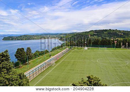 Soccer field next to the sea Trieste Italy
