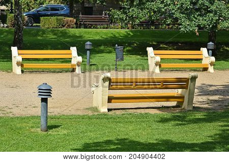 Benches in the park in summer time
