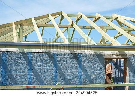 Roof under construction in summer time outdoor