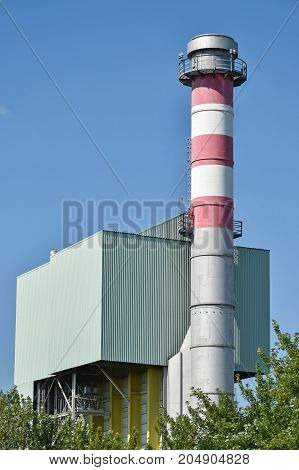 High smoke stack of the power station