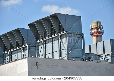 Air filters and smoke stack of the power station