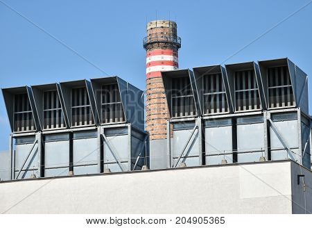 Air filters and smoke stack of the power plant