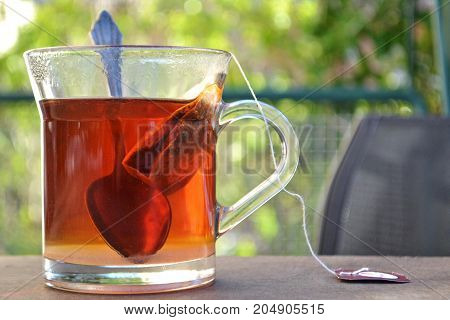 Tea time, cup of tea whit a spoon in nature environment