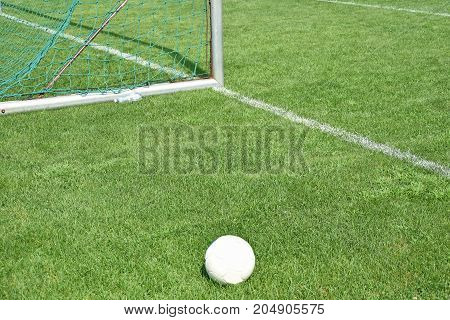 Soccer field and goal in summer time