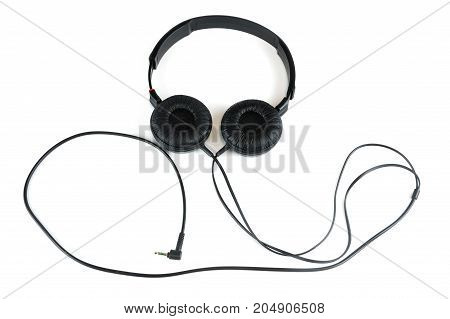 headphone with cable isolated on white background