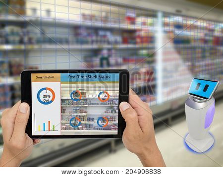smart retail concept A store's manager can check what data of real time insights into shelf status which report on a tablet from artificial intelligence(ai) smart robot while scanning goods and price