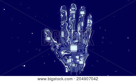 Robot Hand With Cpu Microchips