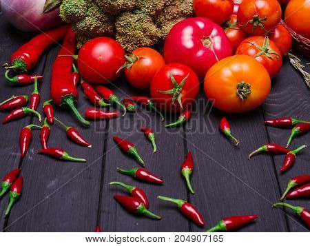 Healthy eating background studio photography of different fruits and vegetables top view. High resolution product.
