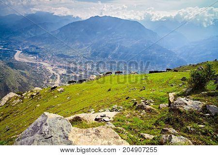 Aerial View Of Kullu Valley. Naggar, Himachal Pradesh. North India.