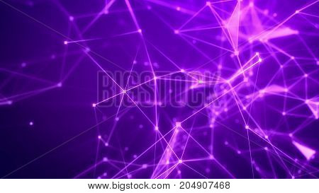 Flight Through The Abstract Violet Grid