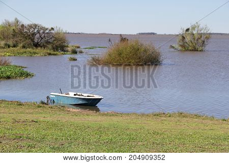 canoe, small boat, over the river grown
