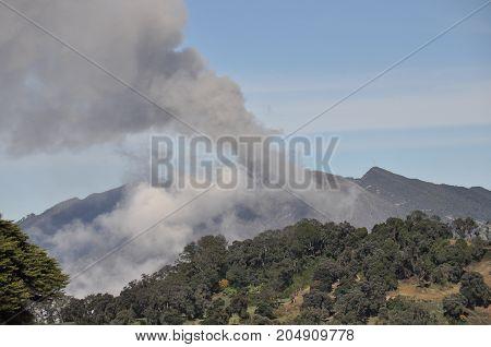 Eruption of Turrialba volcano in Costa Rica seen from the of Irazu volcano.