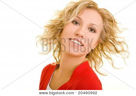 Happy Woman Shaking Her Hair