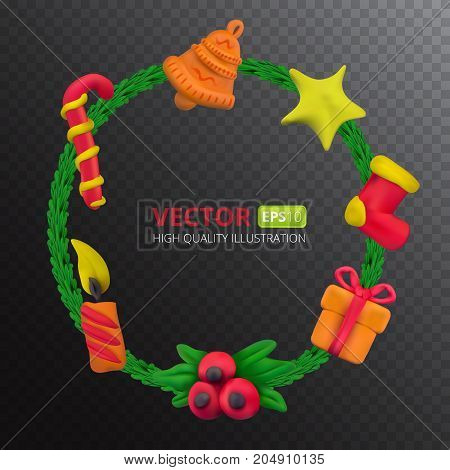 Handmade vector Plasticine round frame for Christmas and Happy New year. Vector illustration of candy gift star candle bell fir branch sock and holy isolated on transparent background