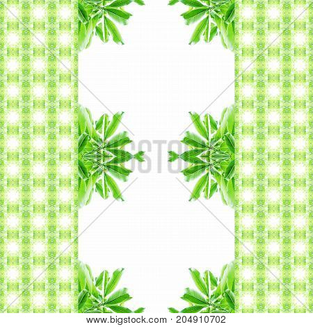 Abstract seamless pattern of green leaves with chequered texture on left and right. Useful for background, backdrop.
