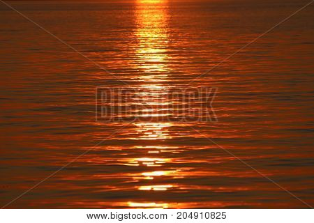 Sunset reflection over Lake Champlain without the sun