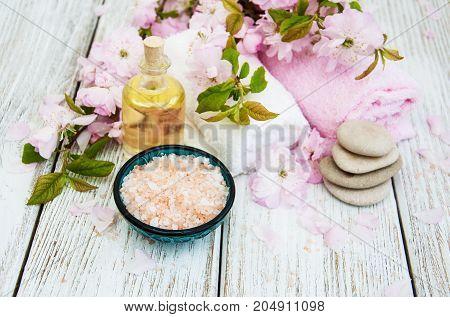 Spa Products With Sakura Blossom