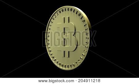 Gold coin with the symbol of digital crypto currency Bitcoin and binary code is isolated on a black background 3D rendering